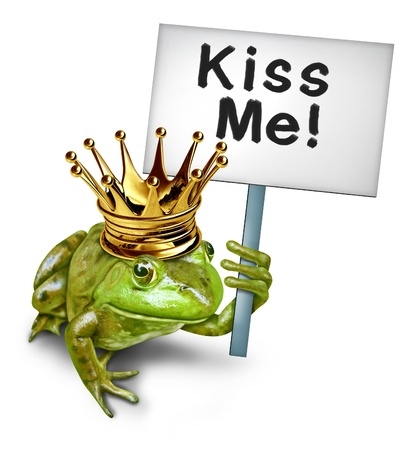 romantic kiss: Looking for love by a green happy smiling amphibian frog prince with a gold crown holding a sign saying kiss me as a symbol of romantic dating and relationships for singles and lonely lovers seeking a mate or life partner.