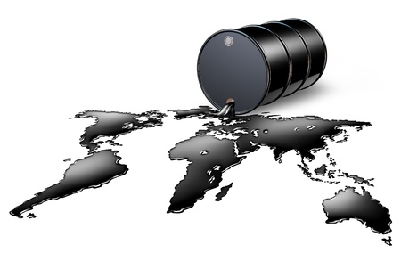 commodities: Oil Industry with a black drum barrel pouring and spilling out fossil fuel liquid crude as a map of the world showing the financial energy business concept of international commodities trading and price setting by the oil cartel.