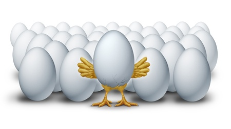 Success and new leadership advantage as an egg bursting with hatching innovation as a symbol of ideas ready for launch and the competitive advantage of being first and a leader amongst other business competitors. photo