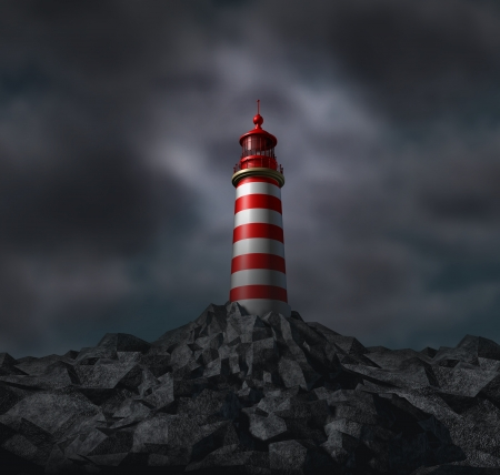 business metaphore: Trust and vision with a lighthouse and dark storm clouds on a solid foundation as a business concept of dependable financial guidance and planning with answers and solutions with the help of financial core values as an insurance.