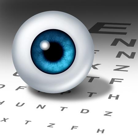 Visión y la visión para los ojos sanos, con especial atención ocular buen uso de una tabla optométrica para ayudar a enfocar de retina miope y deficientes visuales a lo largo y diagnóstico lente de un optómetra, del departamento de oftalmología. Foto de archivo