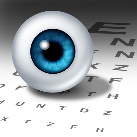 cornea: Vision and eyesight for healthy eyes with good ocular focus using an eye chart to help focus for near sighted and far sighted retina and lense diagnosis from an optometrist from the department of ophthalmology.