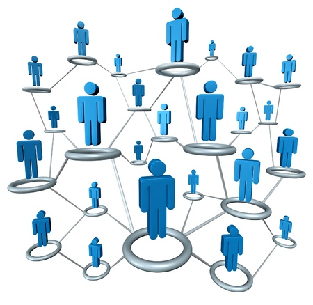 Business network linked together by a connected web graphics photo