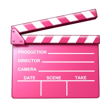 Chick flick pink clap board female target audience movies symbol represented by an isolated romantic love theme film slate. photo