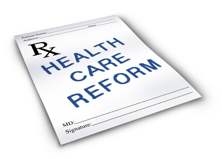 Health care reform for the change to the status quo of the medical insurance and healthcare system on a pharmacy prescription note. Stock Photo - 11935359