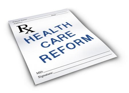Hervorming van de gezondheidszorg voor de wijziging van de status quo van de medische verzekering en gezondheidszorg-systeem op een apotheek recept noot.