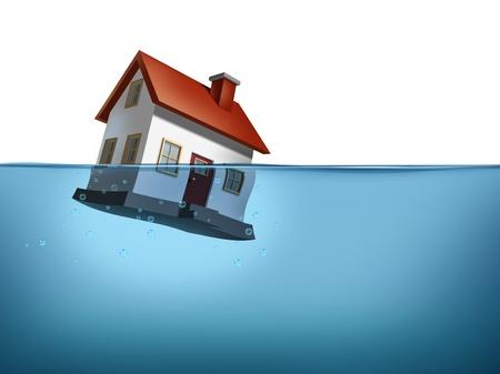 ahogandose: Hundimiento hogar y crisis de la vivienda con una casa en el agua sobre un fondo blanco