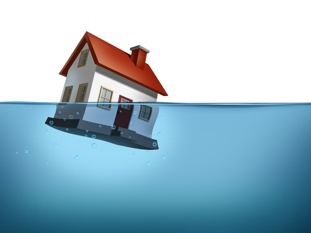Sinking home and housing crisis with a house in the water on a white background