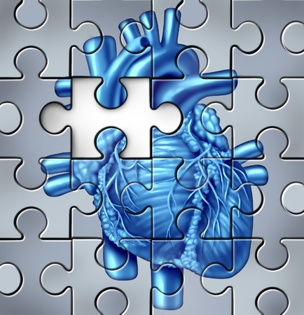 Human heart problems concept on a jigsaw puzzle with a missing piece photo