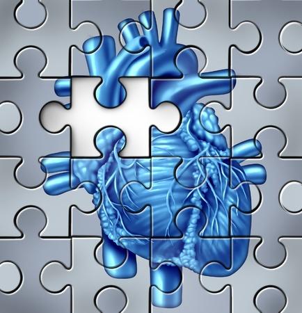 Problemi cardiaci umani concetto su un puzzle con un pezzo mancante Archivio Fotografico - 11935370