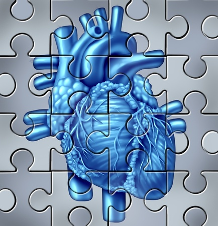 heart disease: Human heart symbol on a jigsaw puzzle Stock Photo