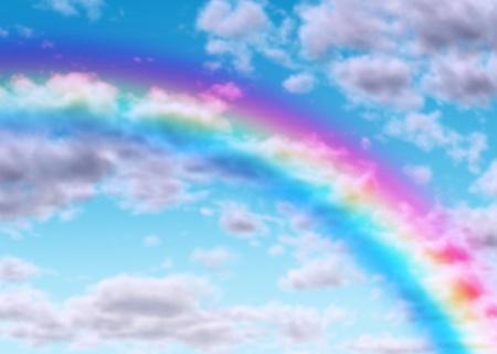 the end of a rainbow: Arco iris de arco en un cielo azul con nubes