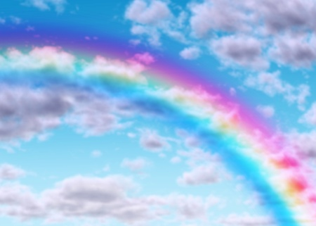 moody: Rainbow arc on a blue sky with clouds