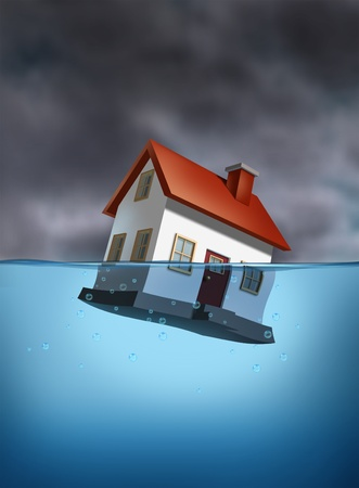 Housing crisis with a sinking home in the water against a dangerous dark stormy cloud background