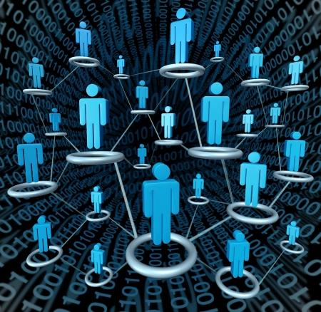 社会的なビジネス ネットワークで結ばれた網によって互いにリンクされて 写真素材