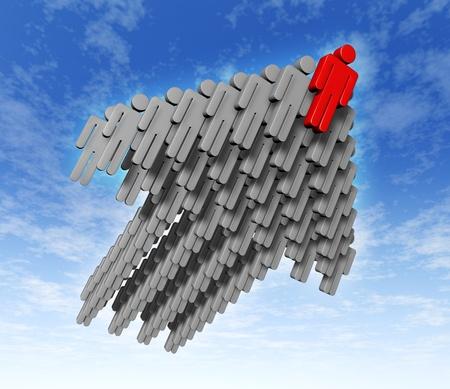 lead: Il lavoro di squadra il successo negli affari con la strategia di crescita come uomini d'affari umani icone in grigio vola nel cielo che sale Archivio Fotografico