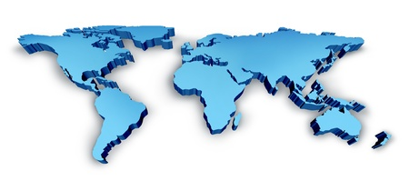 3D Wold Map in blue as a dimensional map with USA Europe Africa the Americas and Asia photo