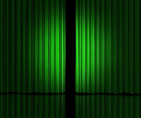 private access: greenish velvet curtains