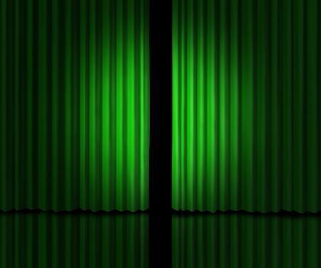audition: zielonkawe aksamitne zasÅ'ony Zdjęcie Seryjne