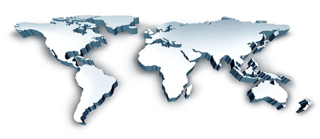 maps globes: Dimensional 3D Wold Map with USA Europe Africa the Americas and Asia Stock Photo