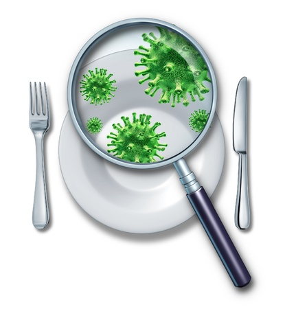 food poisoning: Contaminated food poisoning concept Stock Photo