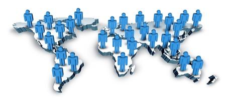 población: Global Communications en una dimensión 3D Wold Mapa con los EE.UU. Europa Africa América y Asia