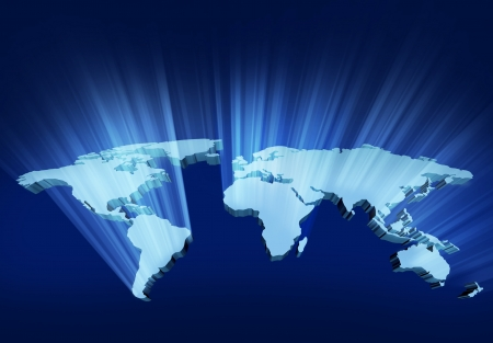 Glowing and shining 3D Wold Map with USA Europe Africa the Americas and Asia