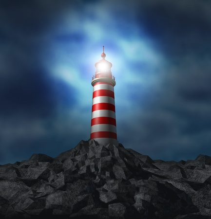 business metaphore: Lighthouse light illuminated on a rock mountain Stock Photo