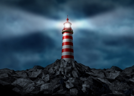 business metaphore: Lighthouse clearing the path on a rock mountain