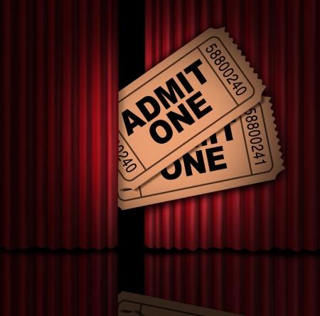 casting: Filme und Unterhaltung Kino-Tickets und Show Stubs hinter dem Vorhang