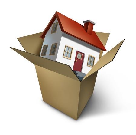 boite carton: D�m�nagement et jour du d�m�nagement d'une maison mod�le dans une bo�te en carton ouvert