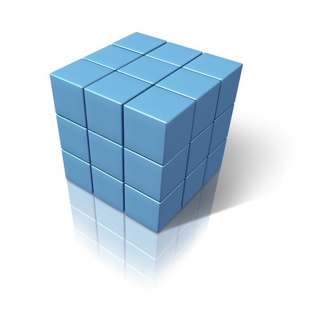 abstract geometrical dimensional blue cubes photo