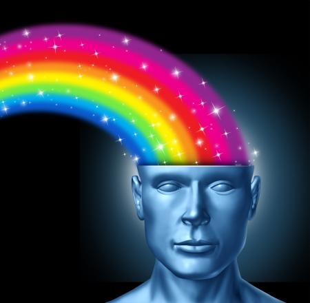cerebro humano: Dise�ar el pensamiento y el cerebro creativo con un frente frente a la cabeza humana que tiene un arco iris de colores que se expresa fuera del cerebro las personas como un s�mbolo de la innovaci�n art�stica y el pensamiento nuevo en el liderazgo empresarial.