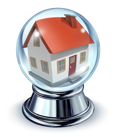 glass house: Dream house in a crystal ball transparent glass sphere and a chrome metal base on a white background with a shadow as a symbol of housing and real estate home predictions of things to come in interest rates and mortgage finances for a personal residence. Stock Photo