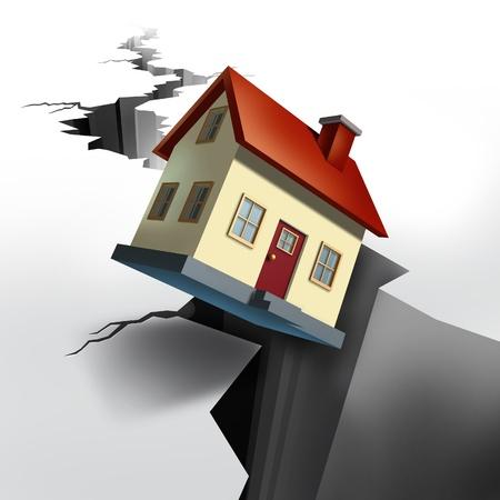 Dalende prijzen van onroerend goed en de woningmarkt neemt af met aardbeving gebarsten vloer met een enorm gat in de grond en een modelwoning die afdalen en zinken in het zwarte gat van schuld en afscherming.