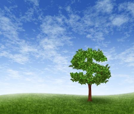 ganancias: El crecimiento y el �xito financiero en un paisaje verde de verano con un solo �rbol en la forma de un signo de d�lar en una colina de hierba de rodadura con un cielo azul con nubes que muestran un concepto de negocio de creciente prosperidad y las inversiones.