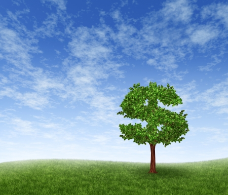 money tree: Financial growth and success on a green summer landscape with a single tree in the shape of a dollar sign on a rolling grass hill with a blue sky with clouds showing a business concept of growing prosperity and investments.