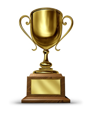 sports trophy: Gold Trophy with a blank metal plaque on a whitebackground as a success concept for winning and being first and the best in a sports competition or a business leader that is a victorious champion.