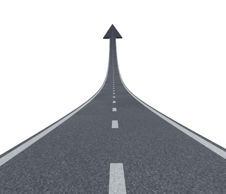 Road to financial success rise to the top and moving up with a sky is the limit symbol and a highway road rising up to the air with an arrow head pointing upward as a business successful concept. Foto de archivo