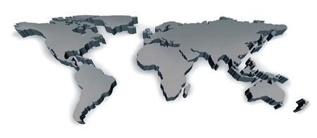 Drie dimensionale grijze kaart van de wereld met de VS Europa Afrika Amerika en Azië als een internationaal symbool van wereldwijde communicatie en intercontinentale bedrijf op basis van een 3D-illustratie van een aarde-model. Stockfoto