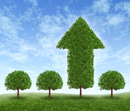 but: Best investment choice and financial advice for picking the right equity stocks to invest in for retirement or profit growth illustrated as four green trees but one money tree in the shape of an arrow succeeds in high growth.