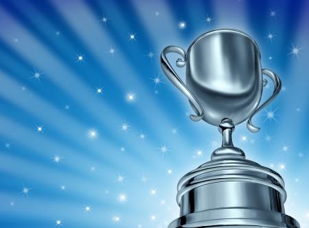 reconnaissance: Champion d'argent prix de la Coupe dans un angle dynamique perspective forc�e cam�ra et une �toile bleue �clater fond embras� avec des �tincelles montrant un grand succ�s dans le sport et �tre le premier dans une competition en tant que gagnant et victorieux d'un tournoi ou un �v�nement sportif et Banque d'images