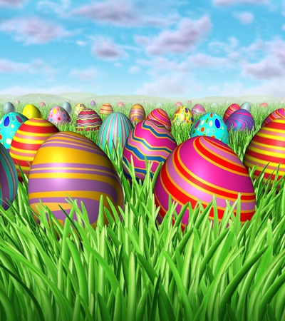 hunts: Easter egg hunt and hunting for easter eggs as a game children play after the easter bunny hides decorated painted eggs in the grass during a spring holiday with many painted oval spheres and candies hiding in the lanscape. Stock Photo
