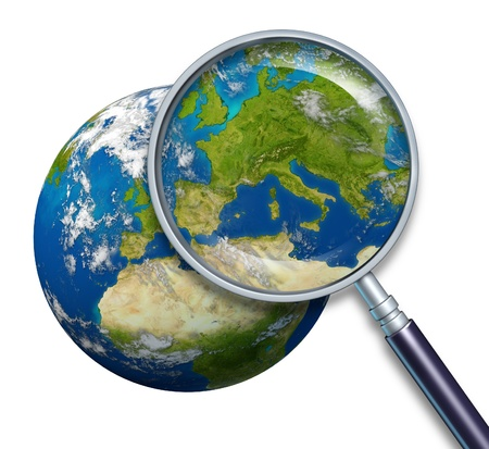 zoom earth: Planet Earth focusing on Europe and European union countries including France Germany Italy and England Greece Spain Portugal surrounded by blue ocean and clouds with a magnifying glass on white. Stock Photo
