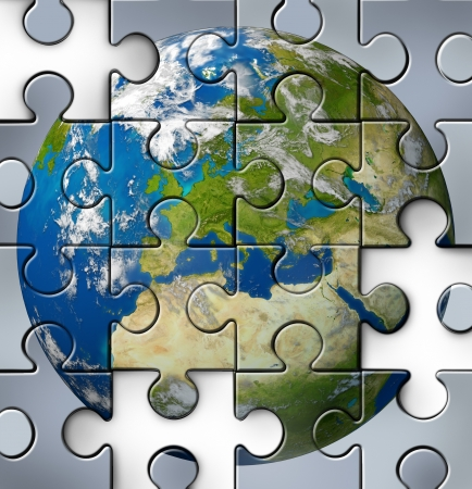 puzzle globe: European financial crisis with Ityaly Greece and Spain France Portugal and other countries from Europe that are facing debt problems and budget challenges due to economic conditions affecting the Euro curency as a broken jigsaw puzzle. Stock Photo