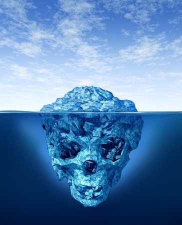 arctic waters: Hidden dangers with a deceptive hazardous iceberg floating in cold arctic ocean water with a small part of the frozen ice mountain above the sea and the hidden bottom part in the shape of a death human skull skeleton.