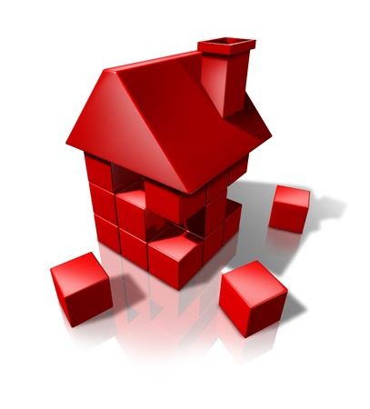 defects: Housing construction And Real Estate industry builders with red cube blocks creeating a new residence or renovating an old house or home on a white background.