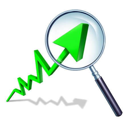 upward graph: Investing Analist Concept as a business success graph pointing upward and rising as a symbol of financial success with a magnifiying glass to analize investments on white background with shadow.