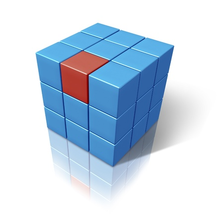 coming together: Joining the team with a unified group of workers working illustrated by abstract geometrical three dimensional blue cubes and a single red cube coming together successfully to create an organization  and competitive strong  union to compete in the busines Stock Photo