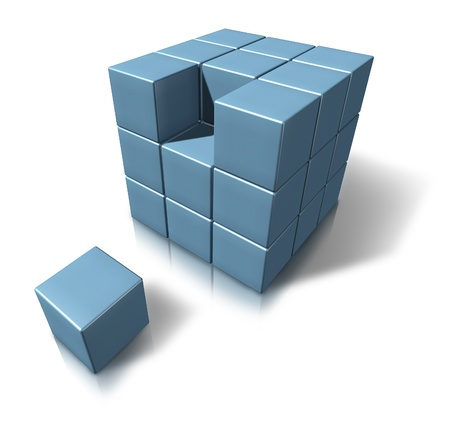 New career as a perfect fit with geometric cubes as a qualified person entering a new industry and joining an established team and organisation filling an open job opportunity of employment as the result of higher education. Stock Photo